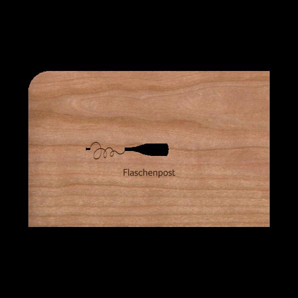 Zubehör: Holzpost Grußkarte 'Flaschenpost'