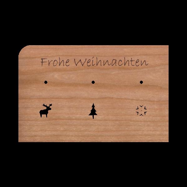 Zubehör: Holzpost Grußkarte 'Frohe Weihnachten'