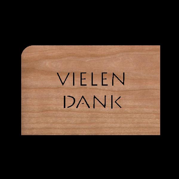 Zubehör: Holzpost Grußkarte 'Vielen Dank'